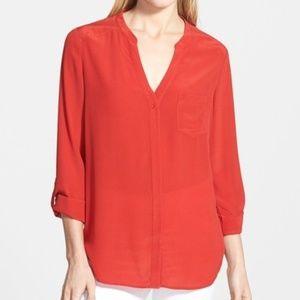 Trouve Red Samba Silk Blouse
